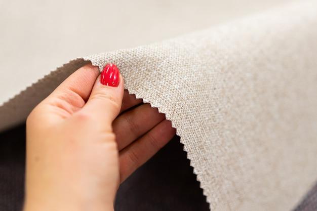 Luxury beige fabric sample close-up