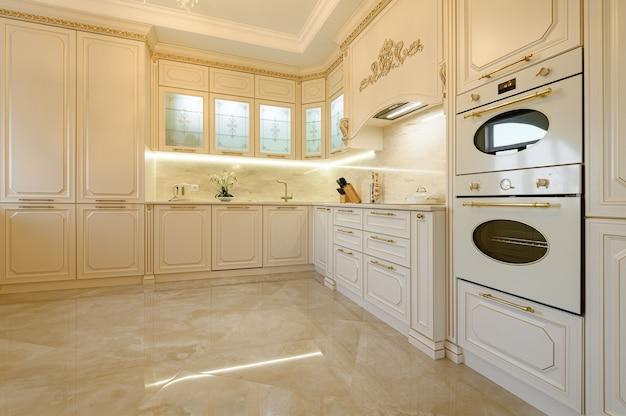 Luxury beige and gold classic kitchen interior