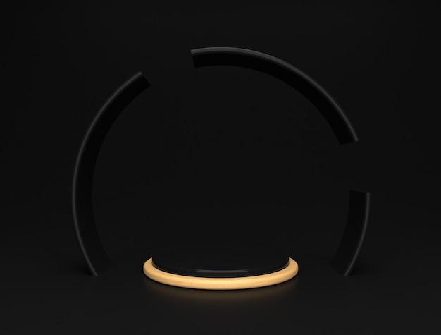 Роскошная черно-золотая сценическая платформа, элегантная цилиндрическая форма дисплея продукта.