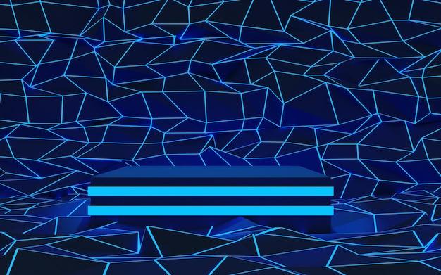 제품 프레젠테이션을 위한 1단계 네온 조명 연단이 있는 고급 검정 기하학적 배경. 3d 렌더링.