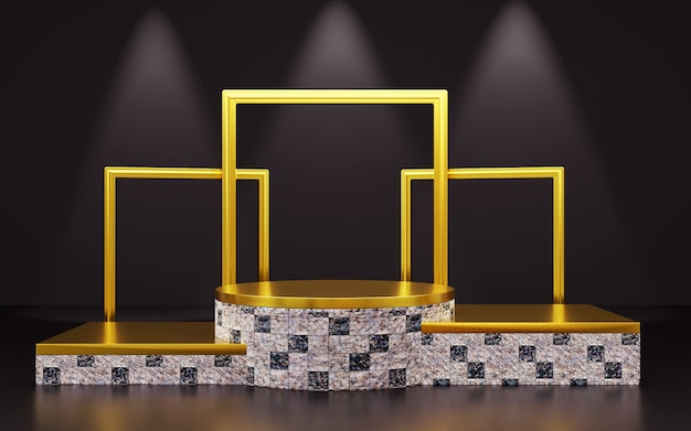 Luxury black and gold geomatric podium with photo frame for product presentations. 3d rendering.  dark background.