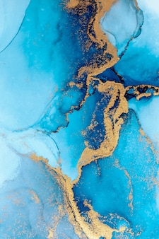 Luxury blue abstract background of marble liquid ink art painting on paper .