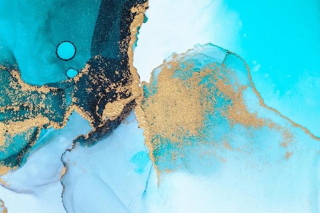 奢华的蓝色抽象背景大理石液体水墨画在纸上。