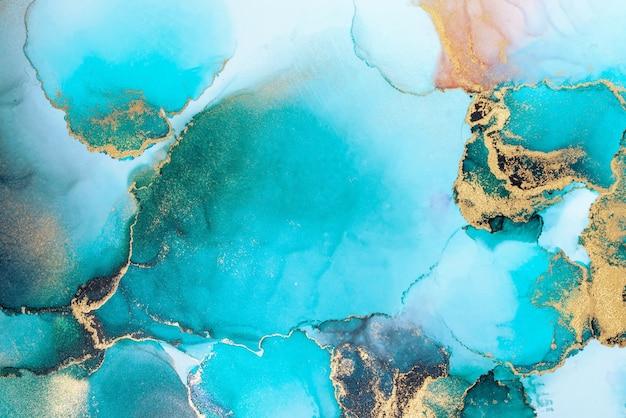 紙に大理石の液体インクアート絵画の豪華な青い抽象的な背景。