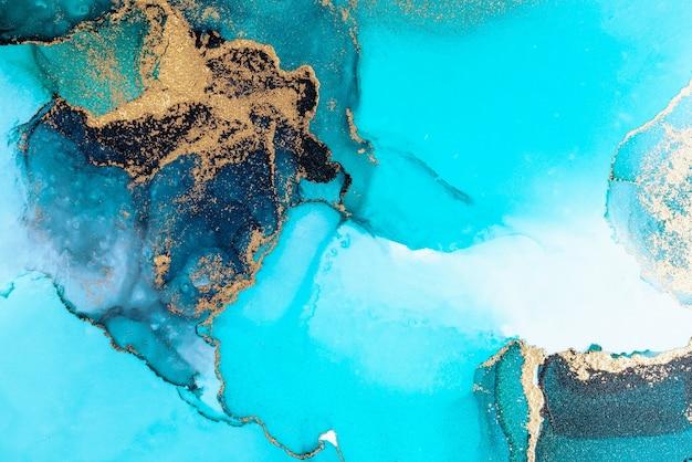 Роскошный синий абстрактный фон мраморной жидкой туши художественной росписи на бумаге.