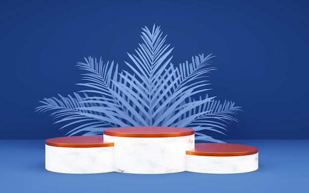 製品プレゼンテーション用のパームリーフ付きの豪華なブルーとブロンズのラウンド表彰台。 3dレンダリング。暗い背景。