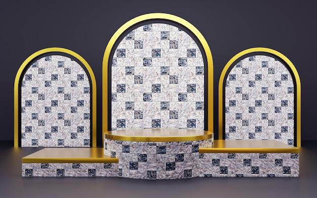 製品プレゼンテーション用の豪華なブルーとゴールドの幾何学的な大理石のテクスチャの表彰台。 3dレンダリング。暗い背景。