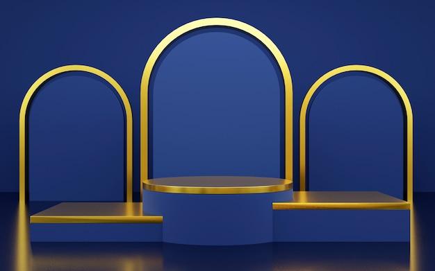製品プレゼンテーション用の豪華なブルーとゴールドの幾何学的な表彰台。 3dレンダリング。暗い背景。