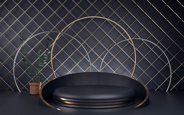 製品プレゼンテーション用の豪華なブルーとゴールドのラウンド表彰台。 3dレンダリング。暗い背景。