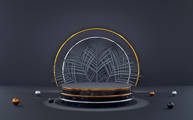 製品プレゼンテーション用のパームリーフ付きの豪華なブルーとゴールドのラウンド表彰台。 3dレンダリング。暗い背景。