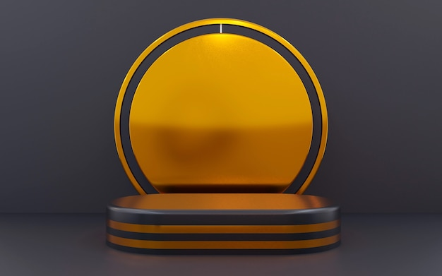 Luxury blue and bronze geometric podium for product presentations. 3d rendering.  dark background.