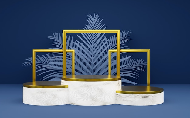 Luxury blue and bronze round podium with palm leaf and photo frame for product presentations. 3d rendering.  dark background.
