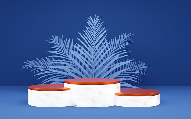 Luxury blue and bronze round podium with palm leaf for product presentations. 3d rendering.  dark background.