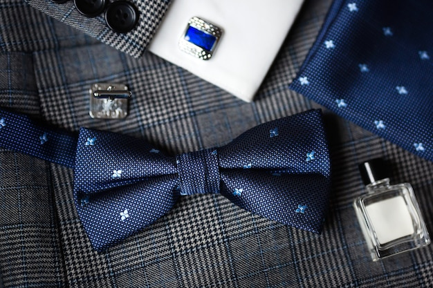 Luxury blue fashion men's cufflinks and bow tie.