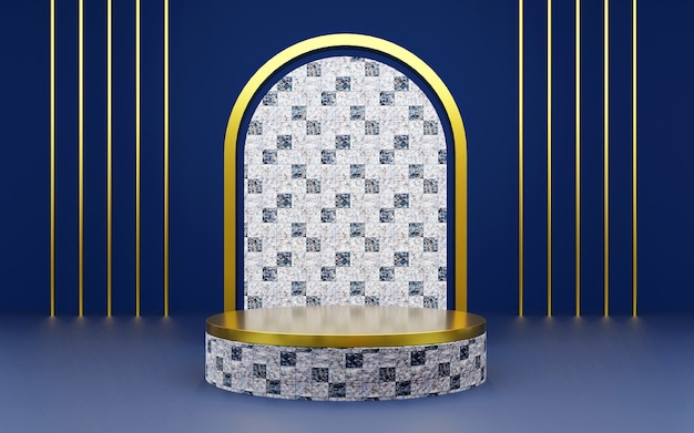 Luxury blue and gold geometric marble texture podium for product presentations. 3d rendering.  dark background.