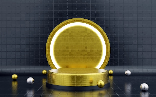 Luxury blue and gold geometric podium & background with a neon light podium for product presentations. 3d rendering.