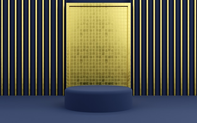 Luxury blue and gold geometric podium for product presentations. 3d rendering.  dark background.