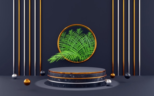 Luxury blue and gold round podium for product presentations. 3d rendering.  dark background.