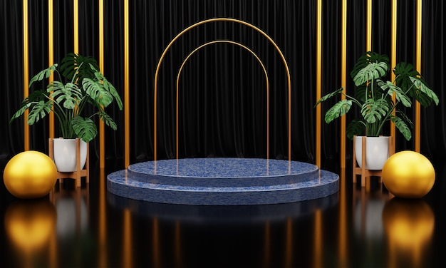 Роскошный синий мраморный круг, блок, квадратный подиум, куб, зеленые листья на черном мраморном фоне