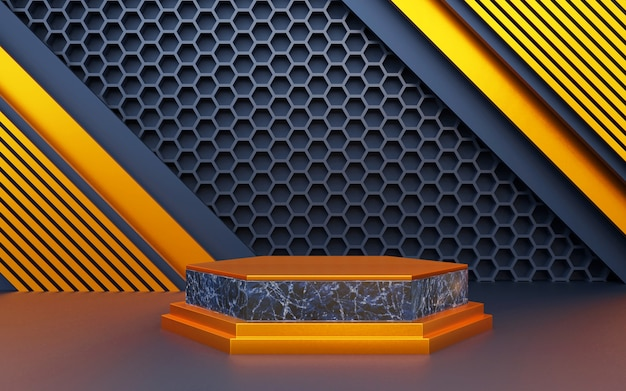 Luxury blue and marble geometric background with a three-level for product presentations. 3d rendering.