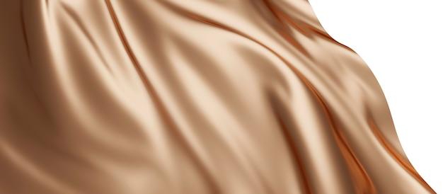 흰색 배경에 고립 된 럭셔리 갈색 천으로 3d 렌더링