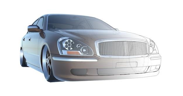 고급 갈색 세단 자동차, 모델의 기술 기반과 교차 렌더링. 3d 렌더링.