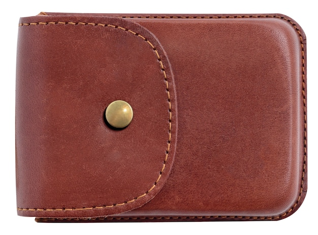 Роскошная визитница из кожи. коричневая кожаная коробка для карт, изолированных на белом фоне.