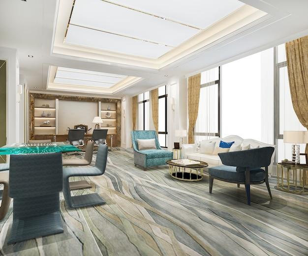 エグゼクティブオフィスの豪華なビジネス会議と作業室