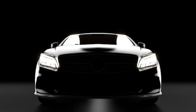 Luxury car and carbon background