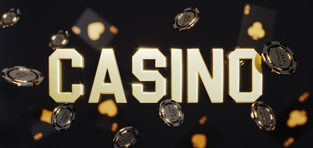 豪華なカジノの背景。プレミアム写真に落ちるポーカーチップ