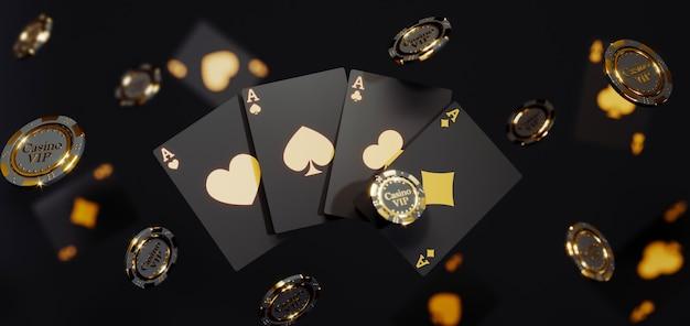 Роскошные золотые фишки и карты казино. падающие фишки для покера премиум фото