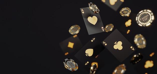 럭셔리 카지노 황금 칩 및 카드. 떨어지는 포커 칩 premium photo