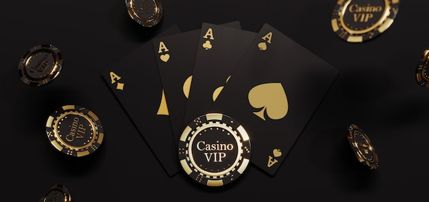 高級カジノのゴールデンチップとカード。プレミアム写真に落ちるポーカーチップ