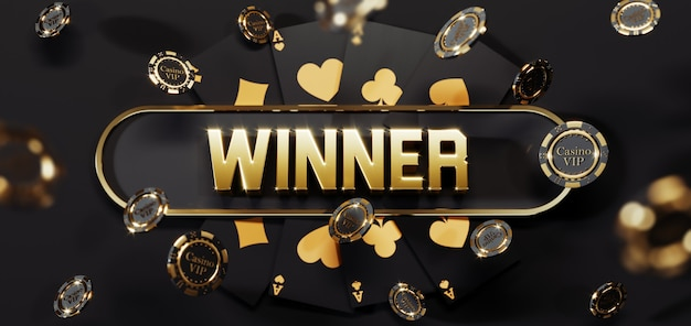 Роскошные золотые фишки и карты казино с 3d знаком победителя. падающие фишки для покера премиум фото
