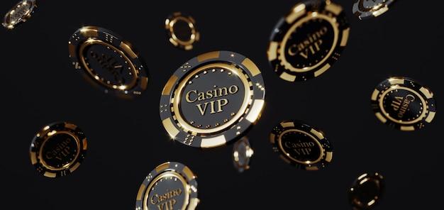 高級カジノゴールデンチップ。プレミアム写真に落ちるポーカーチップ