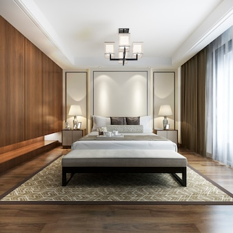Luxury chinese modern bedroom suite in hotel with wardrobe