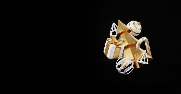 Роскошные рождественские 3d визуализации баннера или поздравительной открытки. современные минимальные новогодние и рождественские золотые и черные украшения с елкой, конфетами, мячом, подарочной коробкой на черном фоне