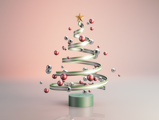 Luxury christmas tree with geometric balls.