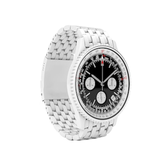Luxury classic analog men's white wrist watch in clay style on a white background. 3d rendering