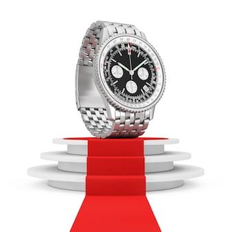 럭셔리 클래식 아날로그 남성용 손목 은색 시계는 흰색 바탕에 계단과 레드 카펫이 있는 둥근 흰색 받침대 위에 있습니다. 3d 렌더링