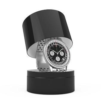 Роскошные классические аналоговые мужские наручные серебряные часы с подарочной коробкой на белом фоне. 3d рендеринг
