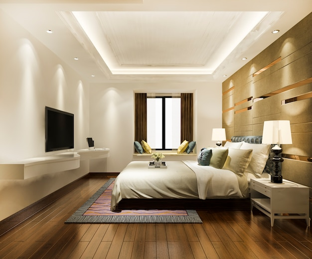 Luxury classic modern bedroom suite in hotel