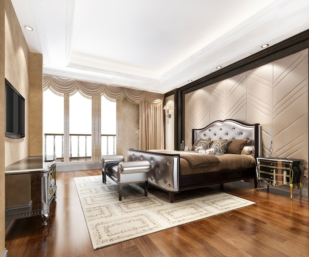 Luxury classic modern bedroom suite in hotel