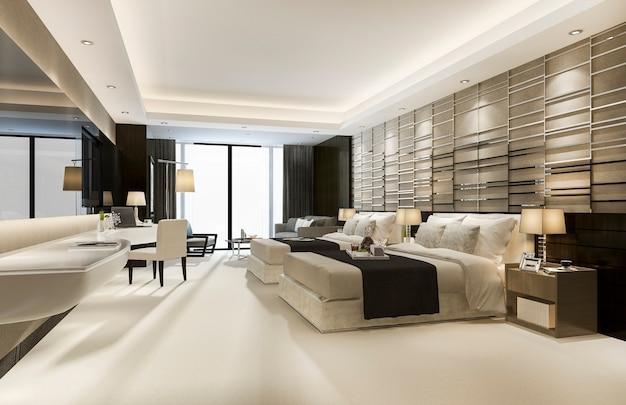 キングサイズのベッドを備えたホテルの豪華なクラシックモダンなベッドルームスイート