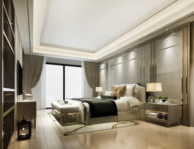 호텔의 럭셔리 클래식 모던 침실 스위트