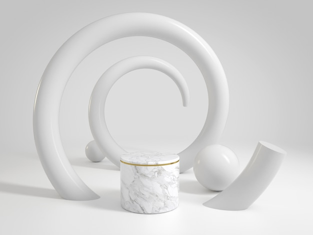 Luxury clean white marble stage for show products or cosmetics with helix curve
