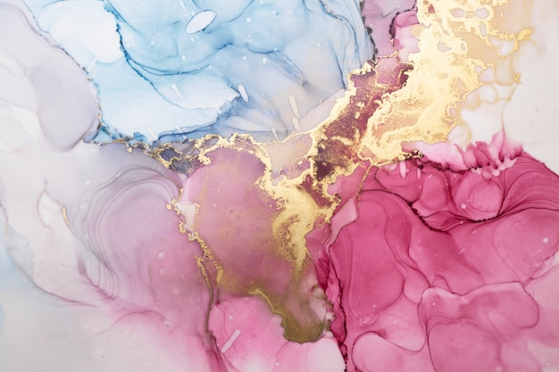 奢华多彩的酒精墨水技术抽象背景,金色液体绘画大理石纹理,分散的丙烯酸斑点和漩涡污渍,印刷材料