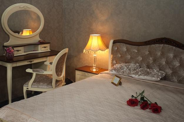 Luxury comfortable modern bedroom interior