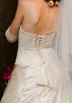 Luxury corset white bridesmaid dresses. bride back
