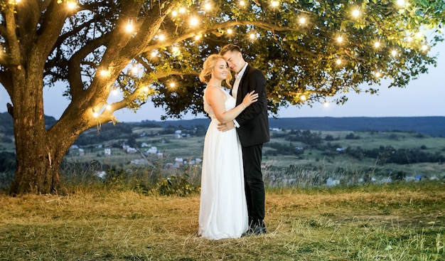 Luxury couple in evening dresses are hugging on the nature near a big beautiful tree with vintage garland. they hugging. in love.